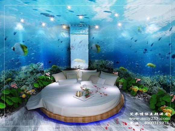 艾米情侣主题酒店经过慎重考虑,决定以蓝色的大海为设计主题,以图片