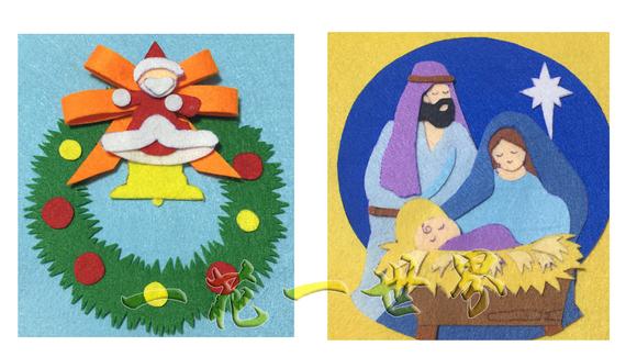 圣诞花环:先剪一个圆形,中间挖空 边缘就剪剪剪吧图片