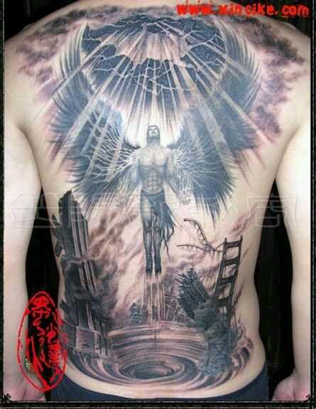 后背纹身天使之翼_后背纹身天使之翼设计