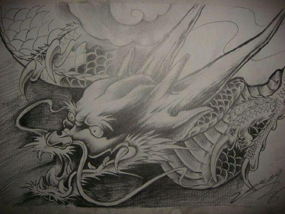 一款帅气经典的龙头纹身手稿图片