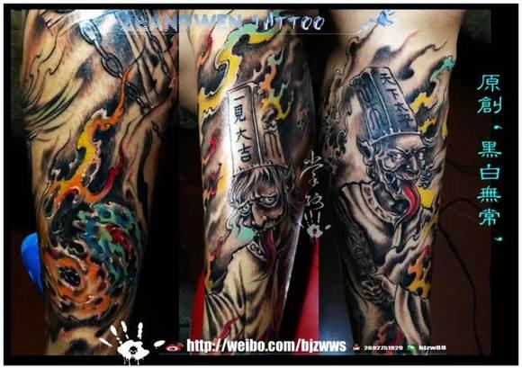 掌纹刺青 原创黑白无常进行中_纹身吧_百度贴吧图片
