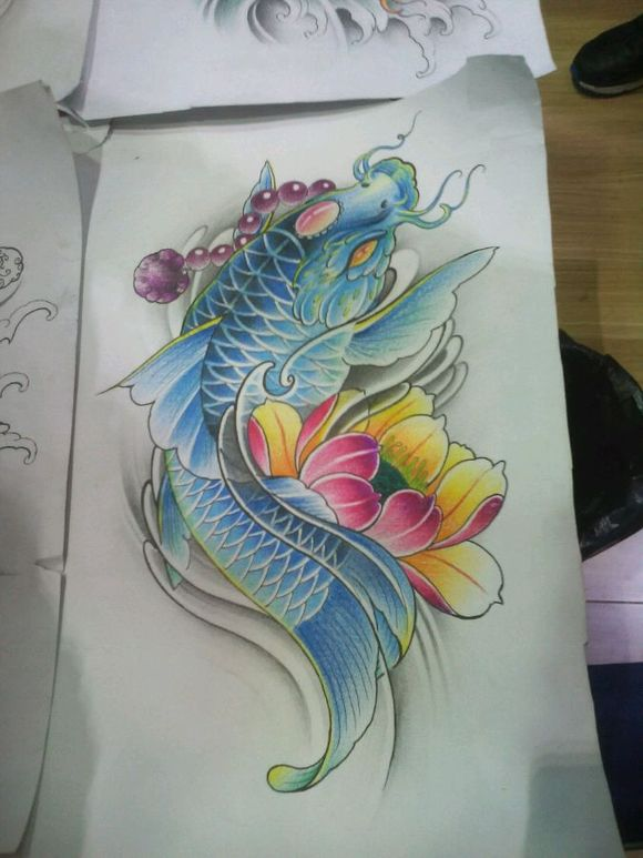 求手臂,鲤鱼图, 谢谢_纹身吧 (580x773)-标签 手稿纹身手臂纹身图片