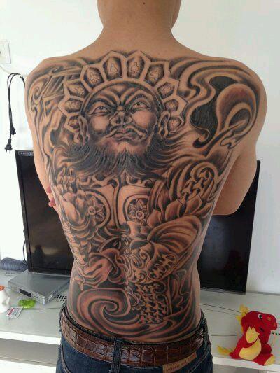 满背四大天王纹身图片展示图片
