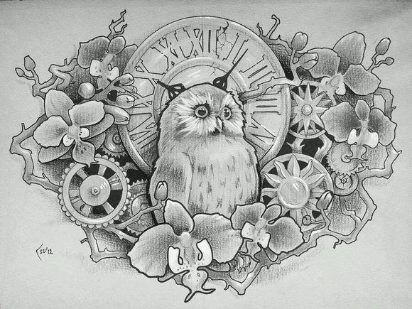 潮流很帅的满背麒麟纹身手稿图片