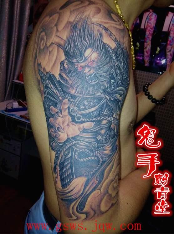 求孙悟空纹身图案,小腿部图片