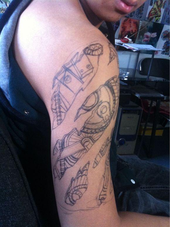 机械臂半臂纹身手稿分享展示图片
