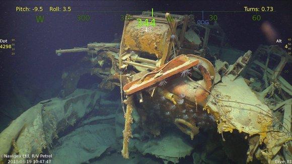 朱诺号的舰艉.左舷的深水炸弹仍然存在.