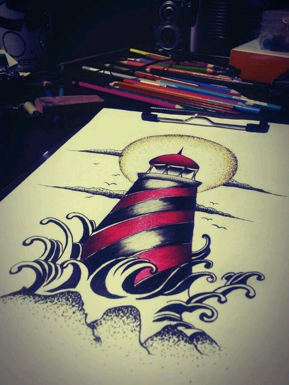 玫瑰灯塔纹身图案分享展示图片