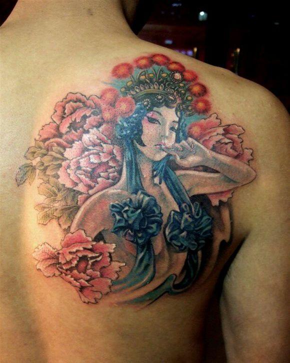 艺妓花旦小腿纹身手稿分享展示图片