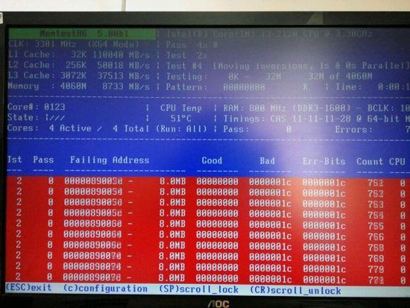 0版本的memtest检测结果还是一堆错误