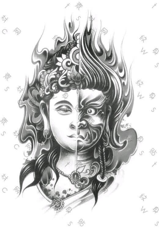 半魔半佛纹身手稿素材图片