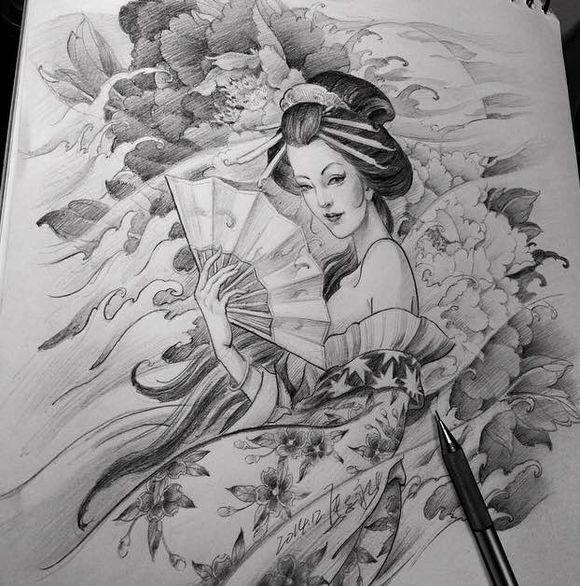 求般艺妓般若面具手稿或纹身图片