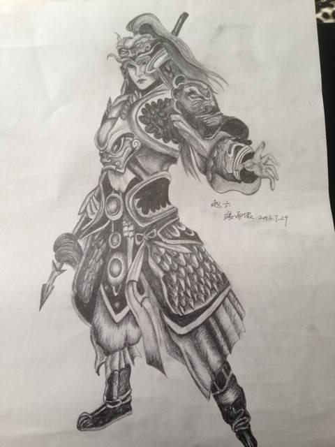常胜将军赵子龙纹身_赵子龙手臂纹身手稿 (480x640)图片