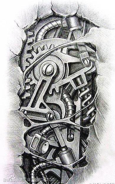 机械纹身手稿图片