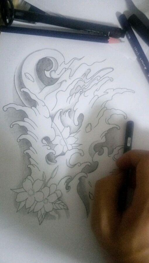 传统的黑白浪花手稿纹身图案图片
