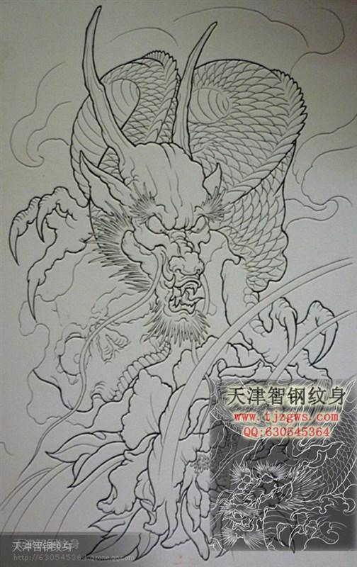 一张线条佛与龙纹身手稿图片