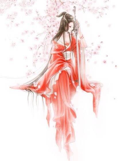 求唯美伤感的古风图 最后是一女生穿着红色嫁衣流着图片