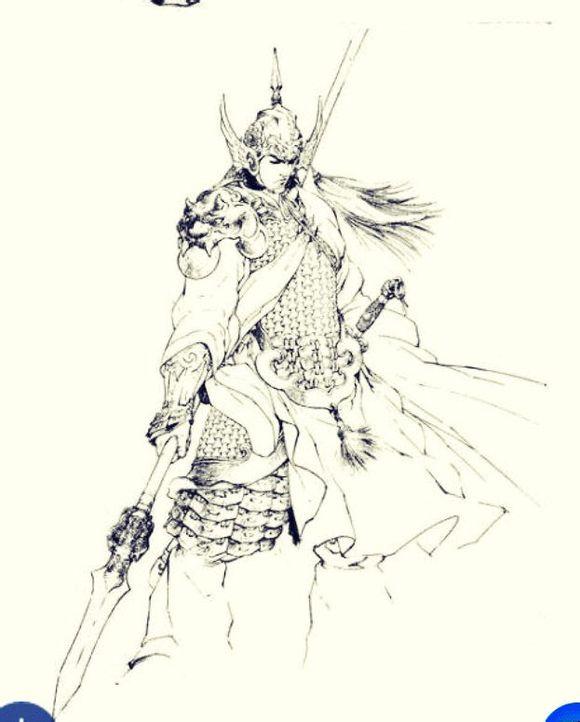 子龙赵云老虎头纹身手稿图片作品 (580x722)-霸气满背战神赵子龙