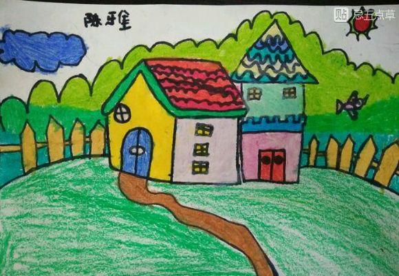 星火画室 儿童画 房子图片