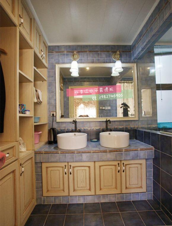 北京江水平装修队砖砌洗手台效果图图片