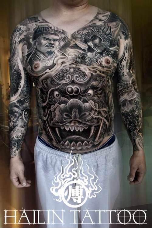 傅海林貔貅纹身�...