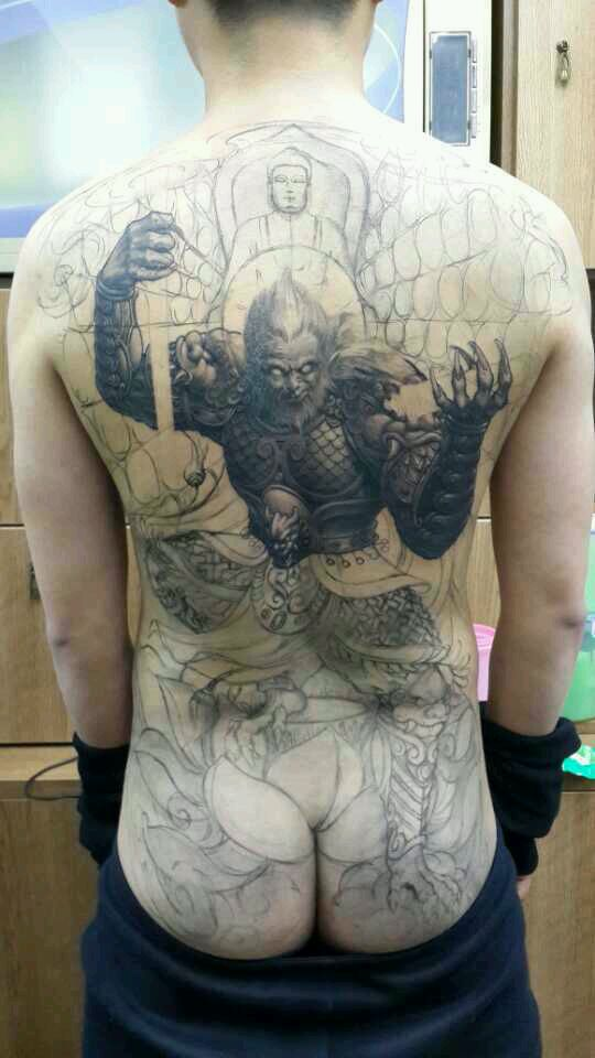 泼墨斗战胜佛纹身手稿分享展示图片