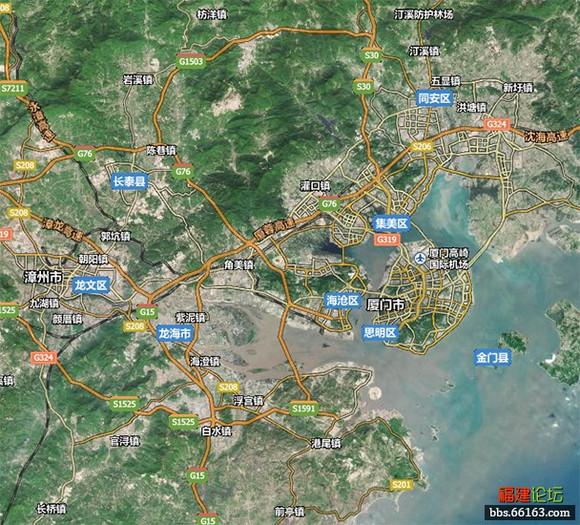 漳州同例卫星地图