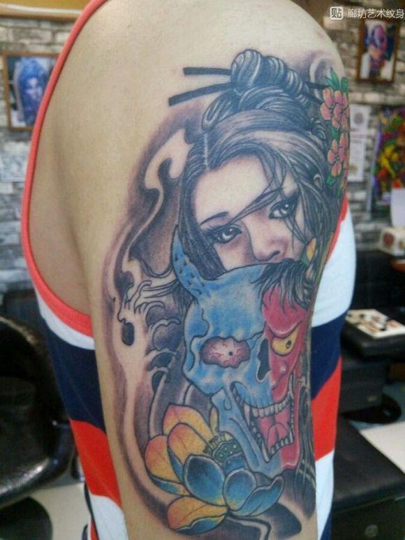 艺妓纹身彩色图片