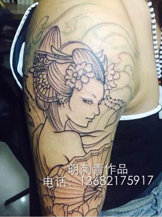 花臂艺妓配般若图片,艺妓般若花臂手稿,般若艺妓花臂纹身
