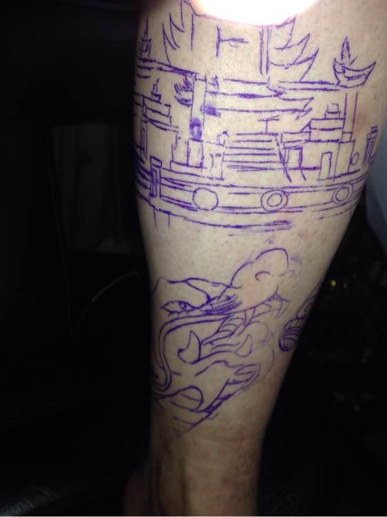 小腿纹身图案悟空分享展示图片图片