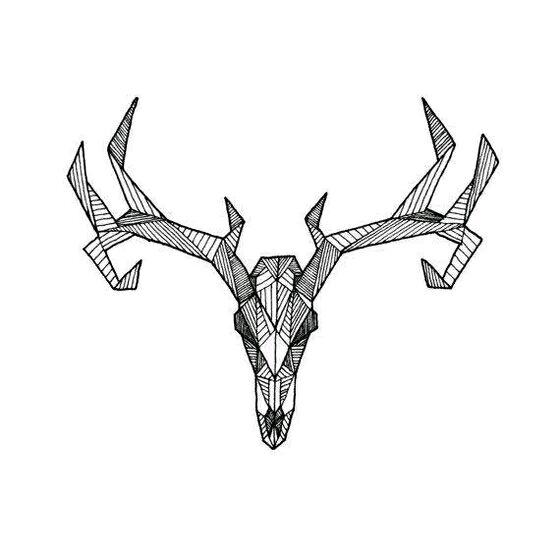 欧美麋鹿纹身 麋鹿角纹身设计图图片