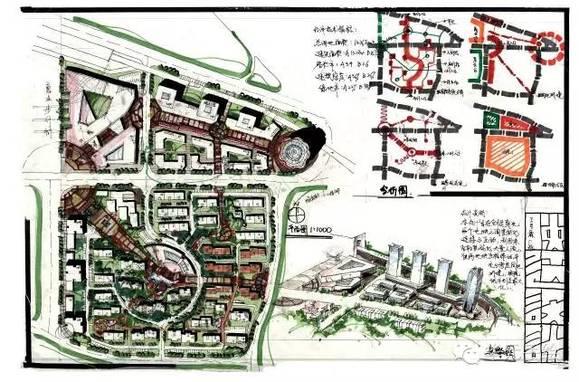 商住混合区是城市规划快题考试类型的基本题型之一,商业与居住作为图片