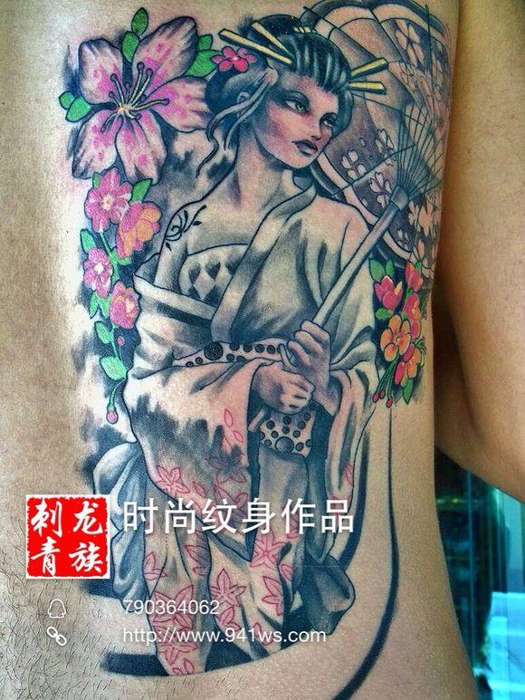 一款手臂日本艺妓美女纹身图案纹图片