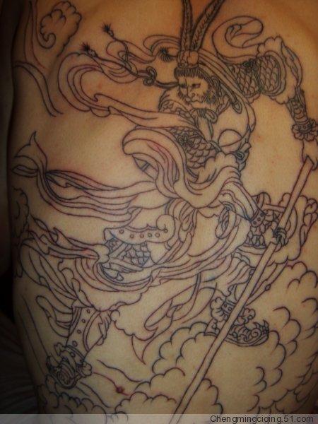 本人求,斗战胜佛满背,吉林市纹身手法要好,价钱不是问题.图片