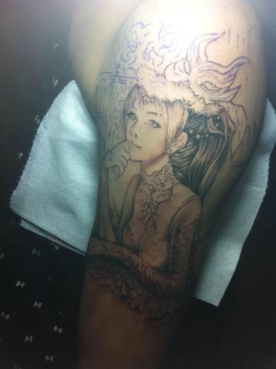 纹身貂蝉勾线手稿分享展示图片