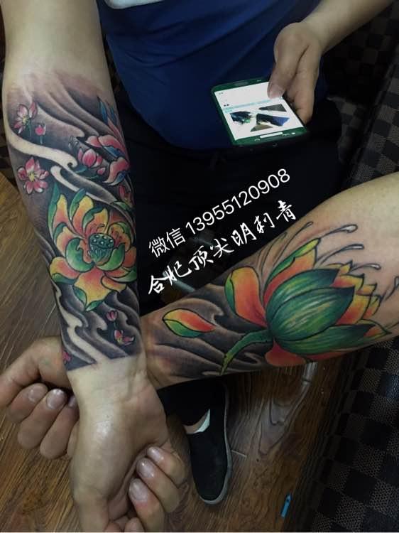 花臂盖图纹身 ,微信咨询 13955120908图片