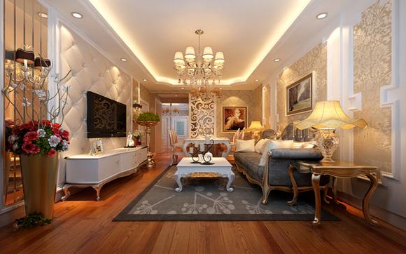 北坞嘉园87平米b户型奢华欧式三居室装修——客厅效果图
