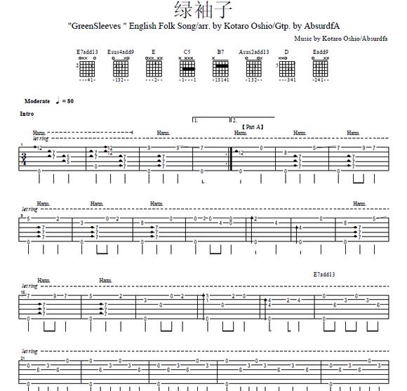 绿袖子 吉他谱 和弦版