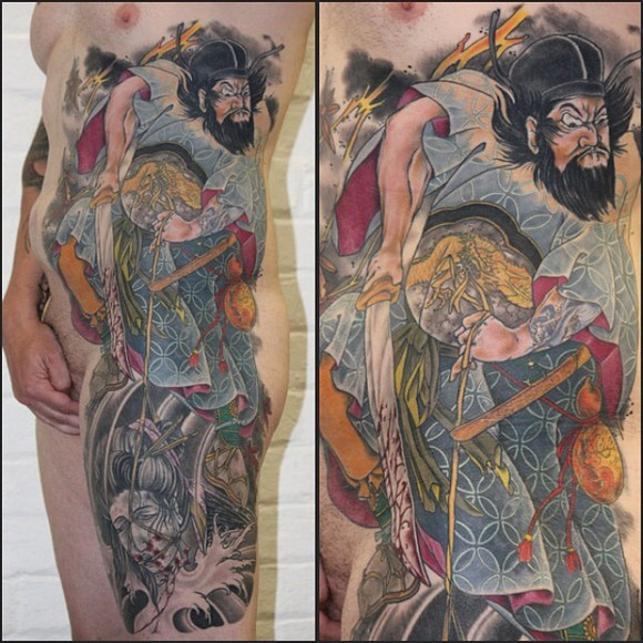老传统纹身浪花分享展示图片