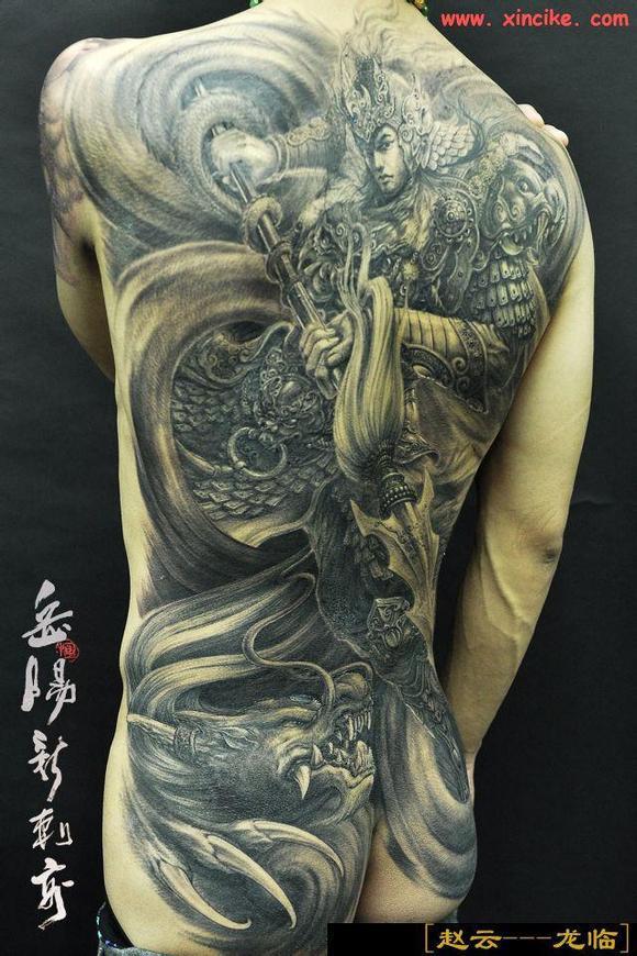 一款满背关公骑马纹身手稿图片