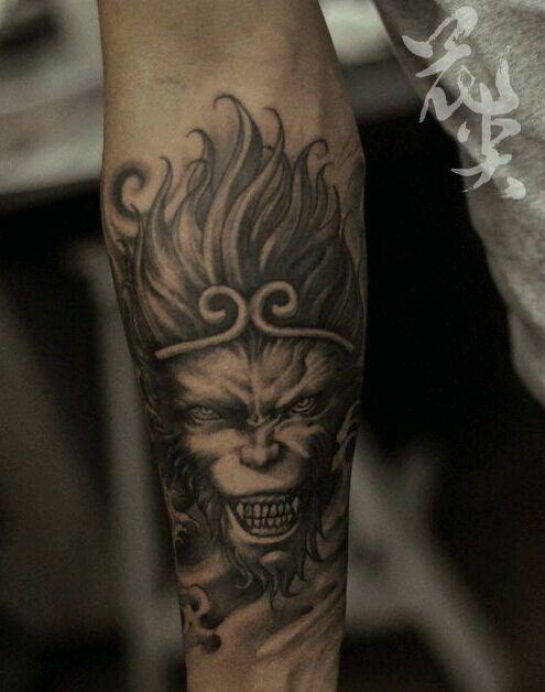 手稿素材龙腾佛祖纹身图案图片