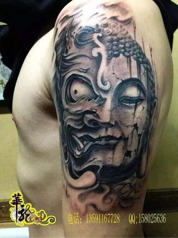包小臂佛头纹身图案 半甲