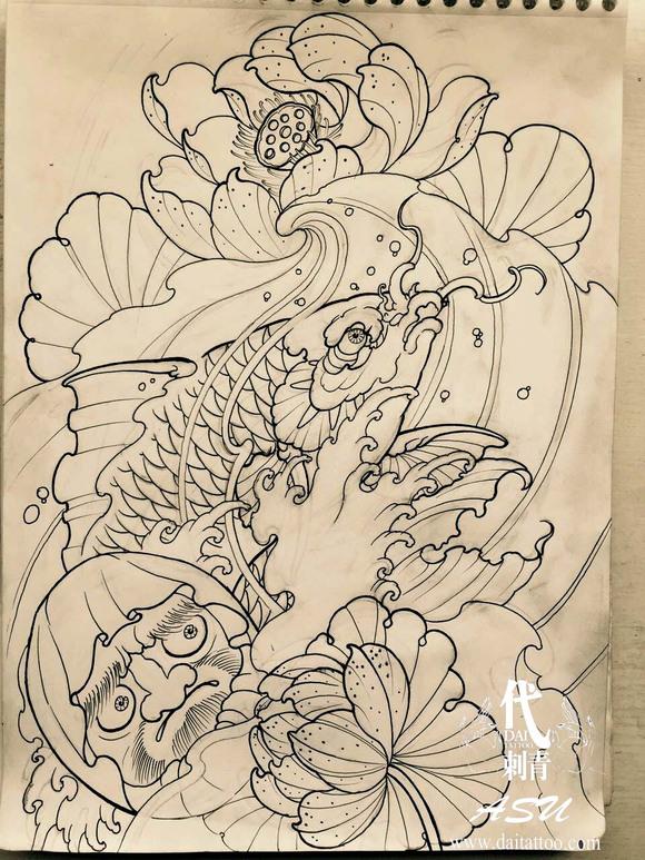 达摩蛋纹身手稿黑白分享展示图片