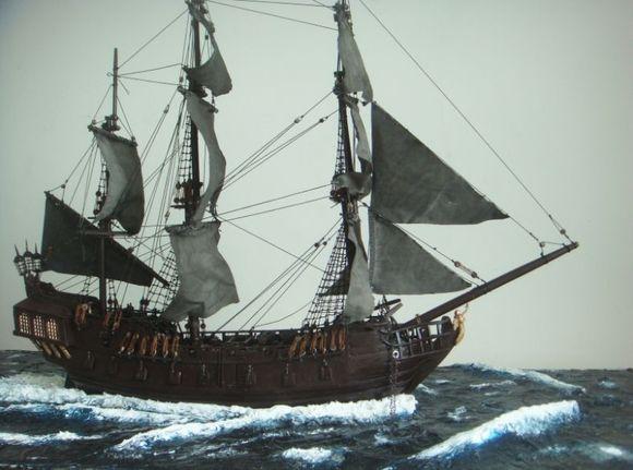【教程贴】古帆船制作——黑珍珠号(加勒比海盗船) 海景制作图片
