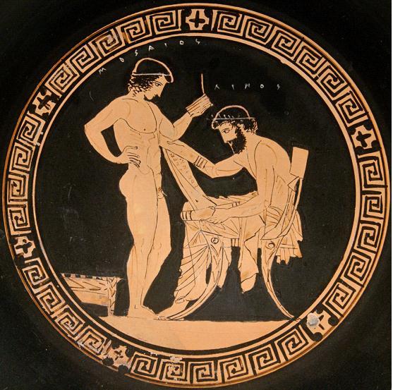 古希腊瓶画上的纸草卷子图片