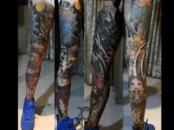 传统花腿纹身分享展示图片