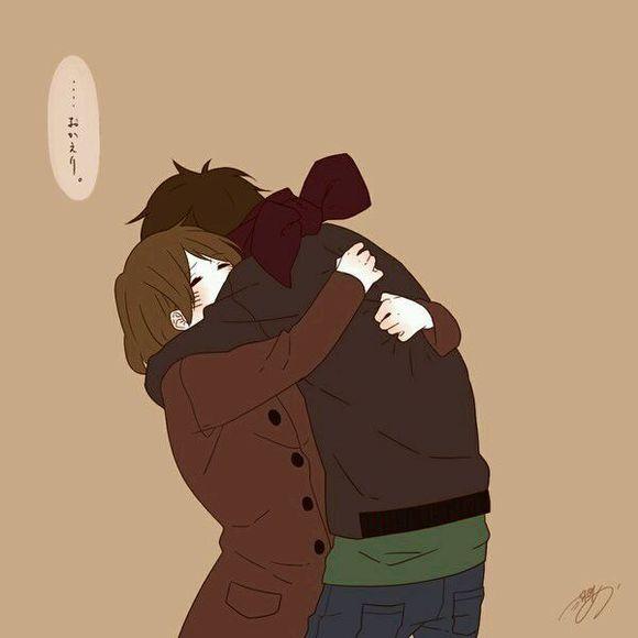 卡通情侣拥抱头像_回复:求动漫情侣拥抱图