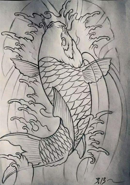 鲤鱼纹身手稿图案大全_鲤鱼纹身手稿图案大全分享图片