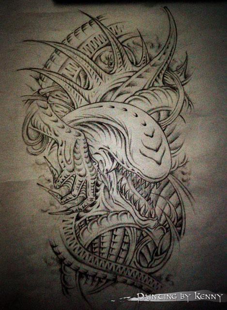 纹身图案 象花臂纹身手稿 > 帅气dj象神花臂纹身图案作品  帅气dj象神