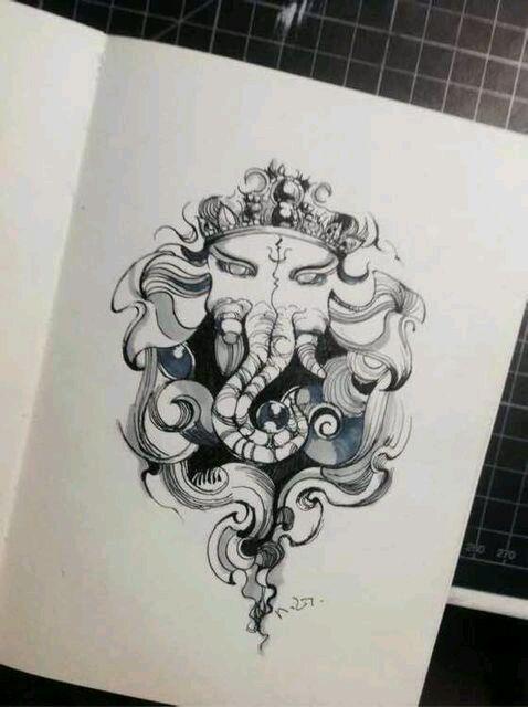 求大臂象神黑白的手稿93_纹身吧_百度贴吧图片